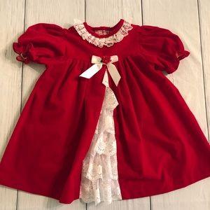 Bryan&Co vtg girls red velvet dress lace 3T